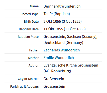 Bernhard Wunderlich baptism record Germany