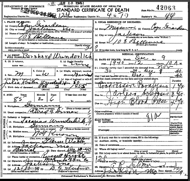 Bernhard Wunderlich death certificate
