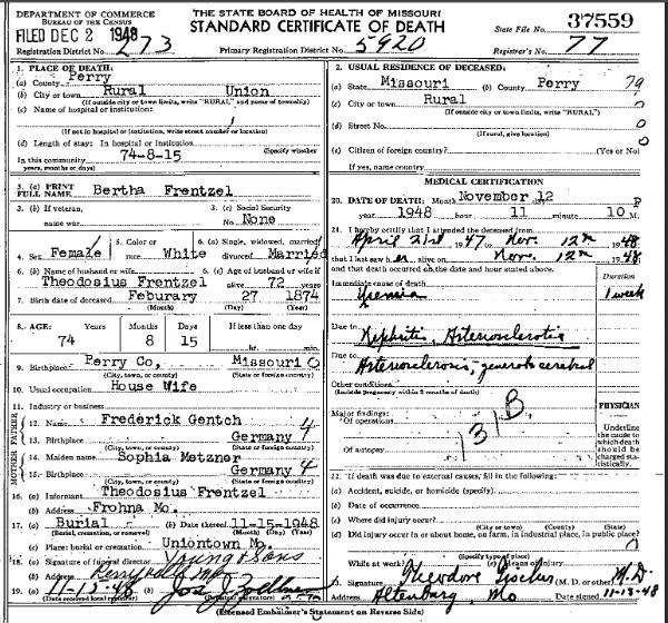 Bertha Frentzel death certificate