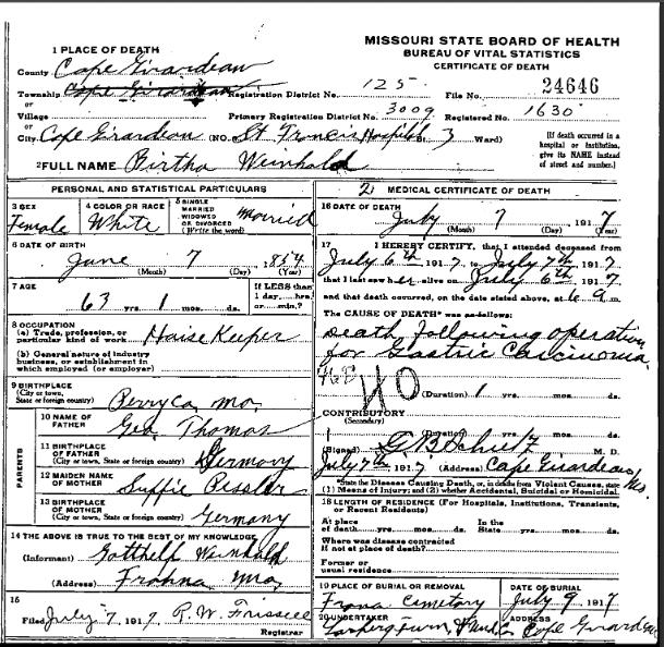 Bertha Weinhold death certificate
