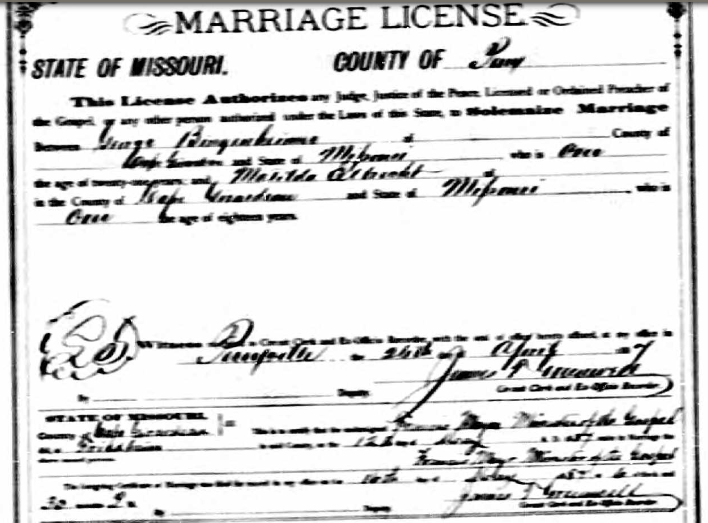 Bingenheimer Elbrecht marriage license
