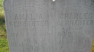 Charles and Amalia Gerharter gravestone 2 Trinity Shawneetown MO