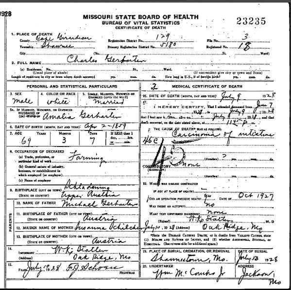 Charles Gerharter death certificate
