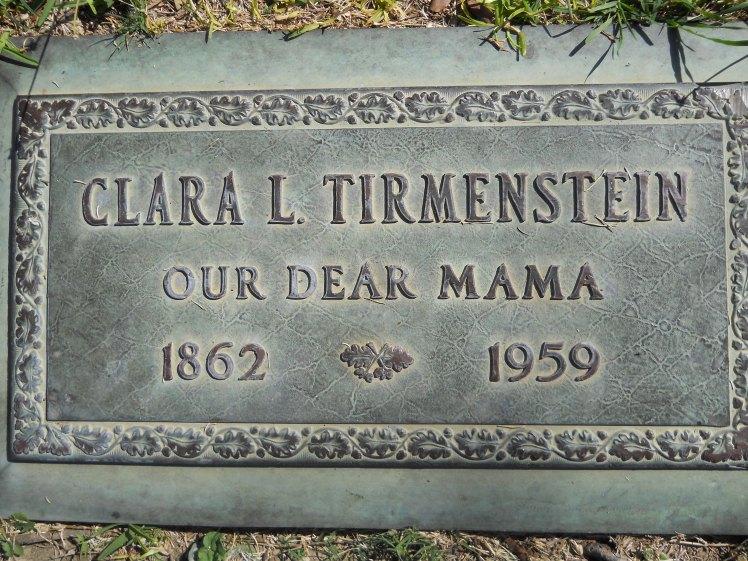 Clara Tirmenstein gravestone Rose Hills Whittier CA
