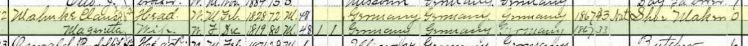 Claus Mahnke 1900 census Brazeau Township MO