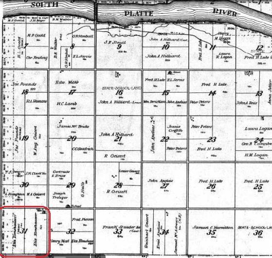 Eliz Elmshauser land map 1913 Keith County NE