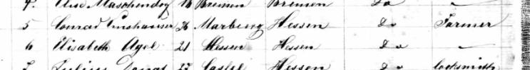 Elmshauser and Agel names Anna passenger list Baltimore 1866