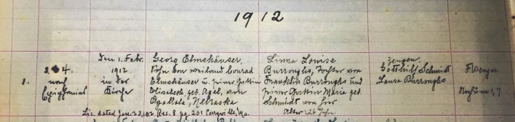 Elmshauser Burroughs marriage record Concordia Frohna MO