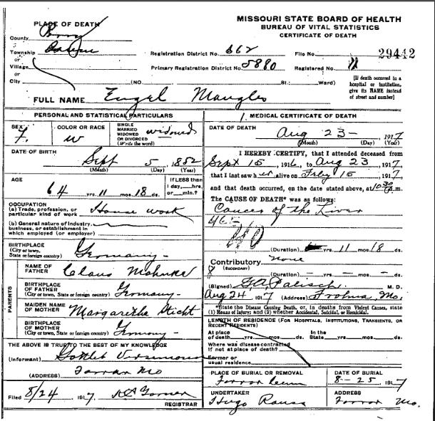Engel Mangels death certificate