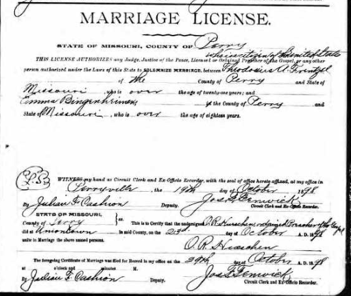 Frentzel Bingenheimer marriage license