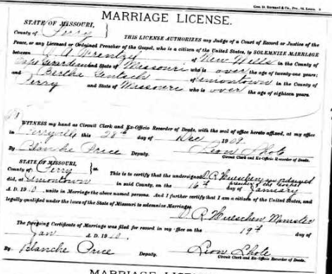 Frentzel Gentsch marriage license