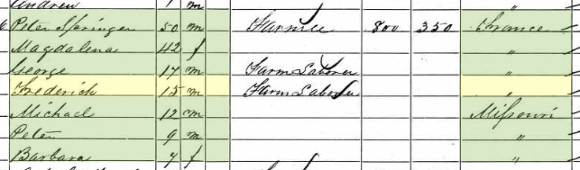 Friedrich Springer 1860 census Cinque Hommes Township MO