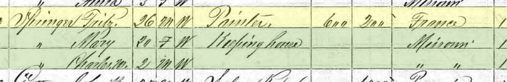 Friedrich Springer 1870 census Perryville MO