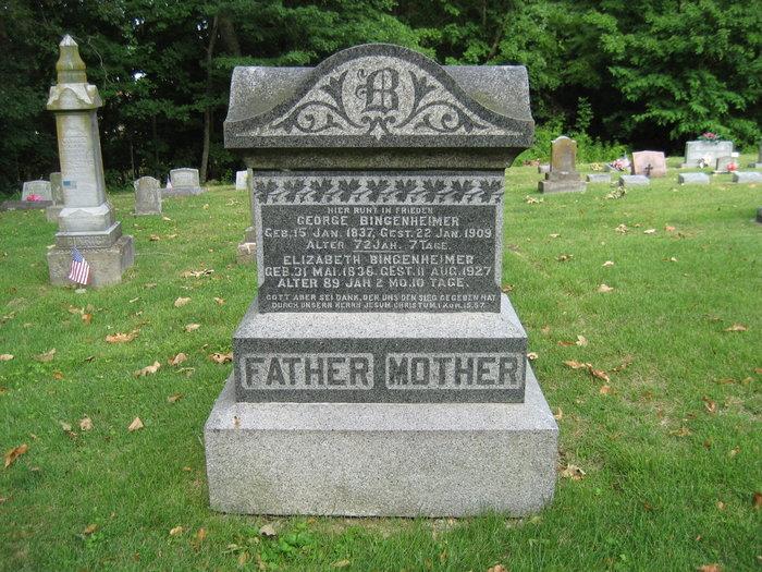 George and Elizabeth Bingenheimer gravestone Zion Longtown MO