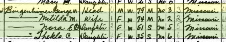 George Bingenheimer 1940 census Cincque Homme Township MO