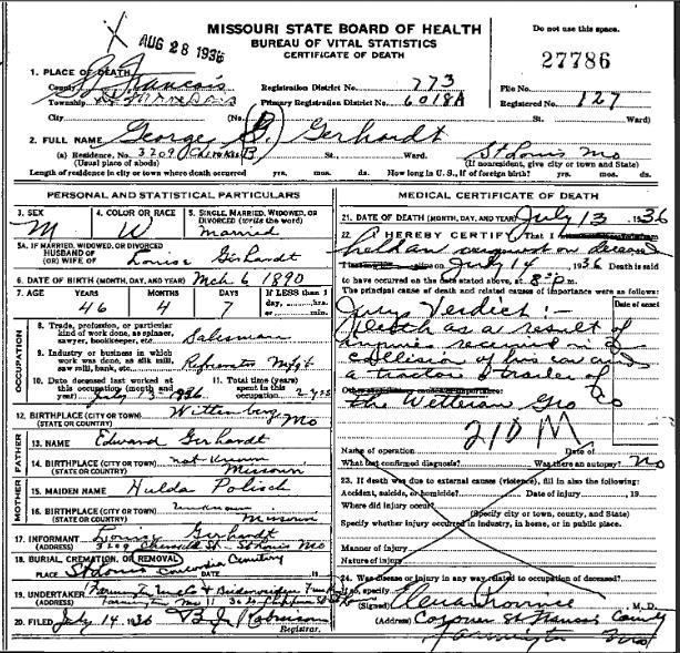 George Gerhardt death certificate