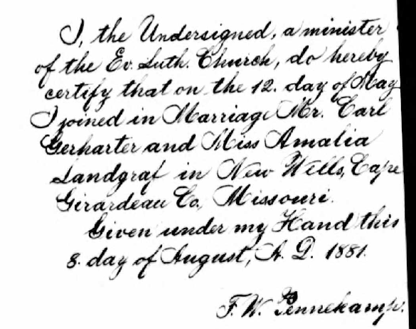 Gerharter Landgraf marriage record Cape Girardeau County MO