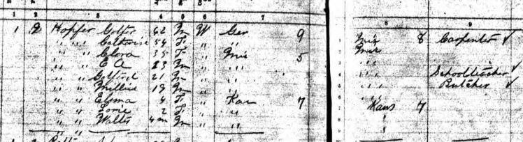 Gottfried Hopfer 1895 Kansas state census Washington County