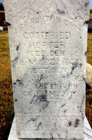 Gottfried Hopfer gravestone Zion Linn KS