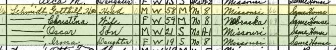 Gotthilf Schmidt 1940 census Brazeau Township MO