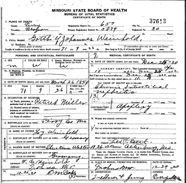 Gotthilf Weinhold death certificate