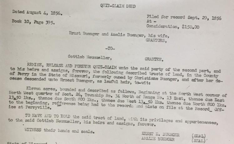 Gottlob Neumueller property transfer record