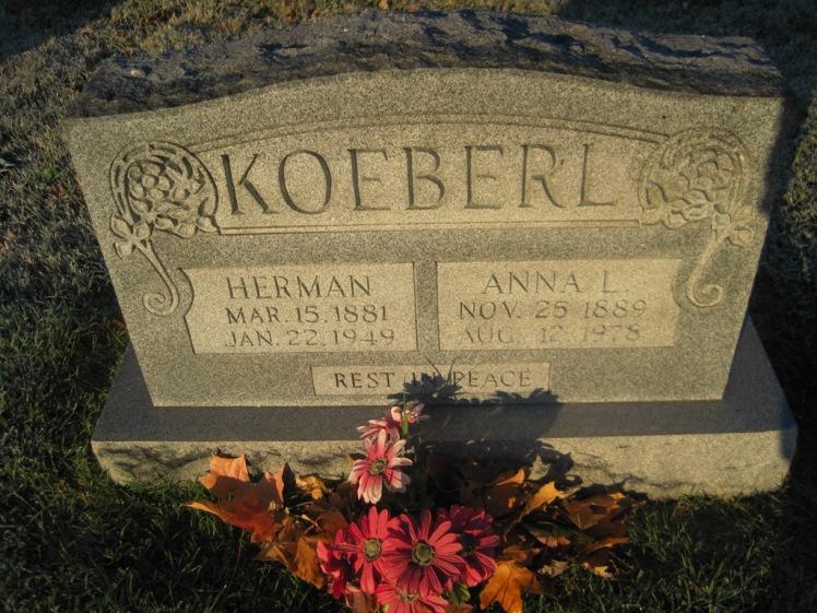 Herman and Anna Koeberl gravestone St. John's Pocahontas MO