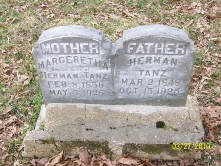 Herman and Margaretha Tanz gravestone Grace Uniontown MO