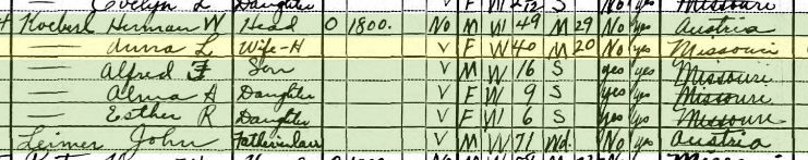 Herman Koeberl 1930 census Shawnee Township MO