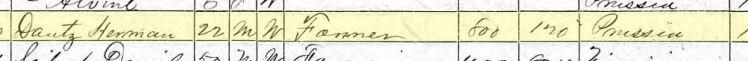 Herman Tanz 1870 census Brazeau Township MO