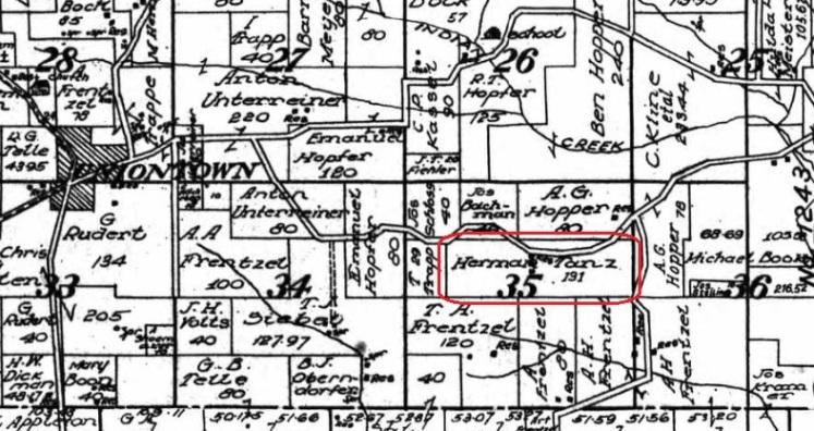 Herman Tanz land map 1915