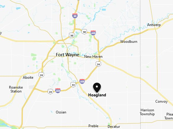 Hoagland IN map Wiehe birthplace
