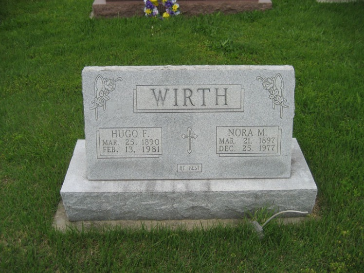 Hugo and Nora Wirth gravestone Immanuel Perryville MO