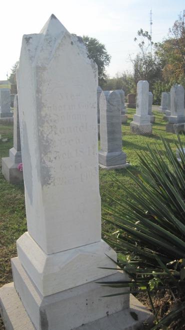 Johann Peter Mangels gravestone Salem Farrar MO