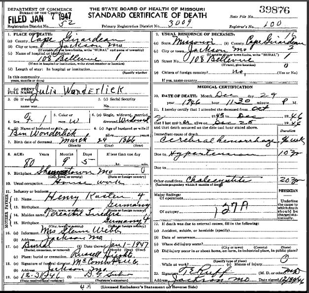 Julie Wunderlich death certificate