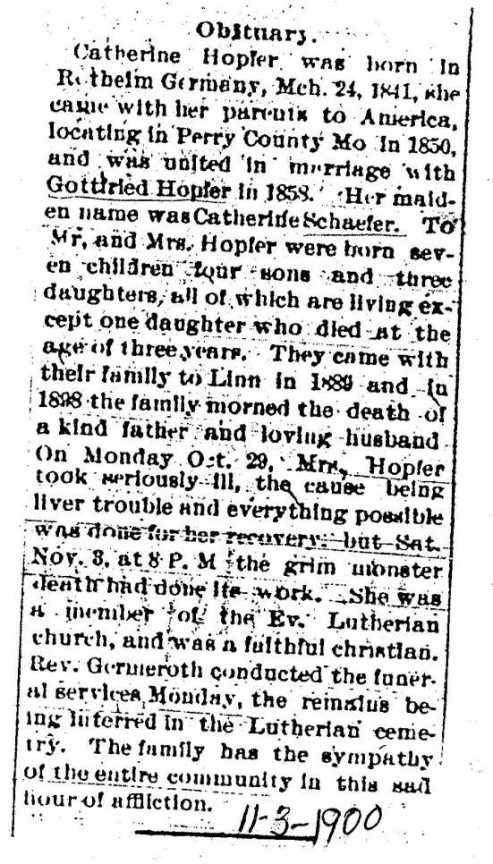Katherine Hopfer obituary Linn Digest