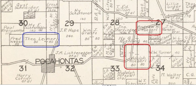 Koeberl Leimer land map 1930 Cape County MO