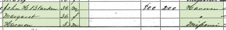 Margaretha Blanken 1860 census Brazeau Township MO