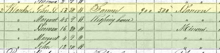 Margaretha Blanken 1870 census Brazeau Township MO