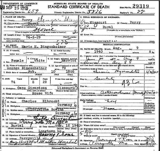 Marie Bingenheimer death certificate