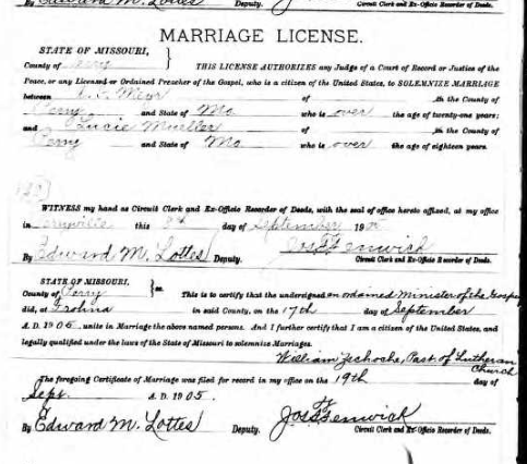 Meyr Mueller marriage license