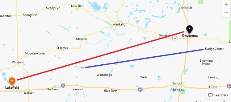 Owatonna Lakefield Minnesota map