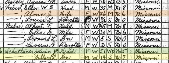 Pauline Schattauer 1940 census Brazeau Township MO