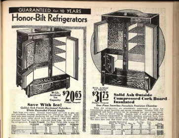 Refrigerators Ice boxes 1930 Sears catalog