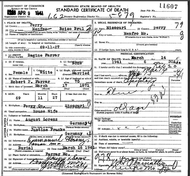 Regine Farrar death certificate