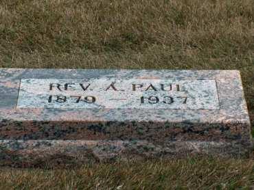 Rev. Adolph Paul gravestone Immanuel Lakefield MN