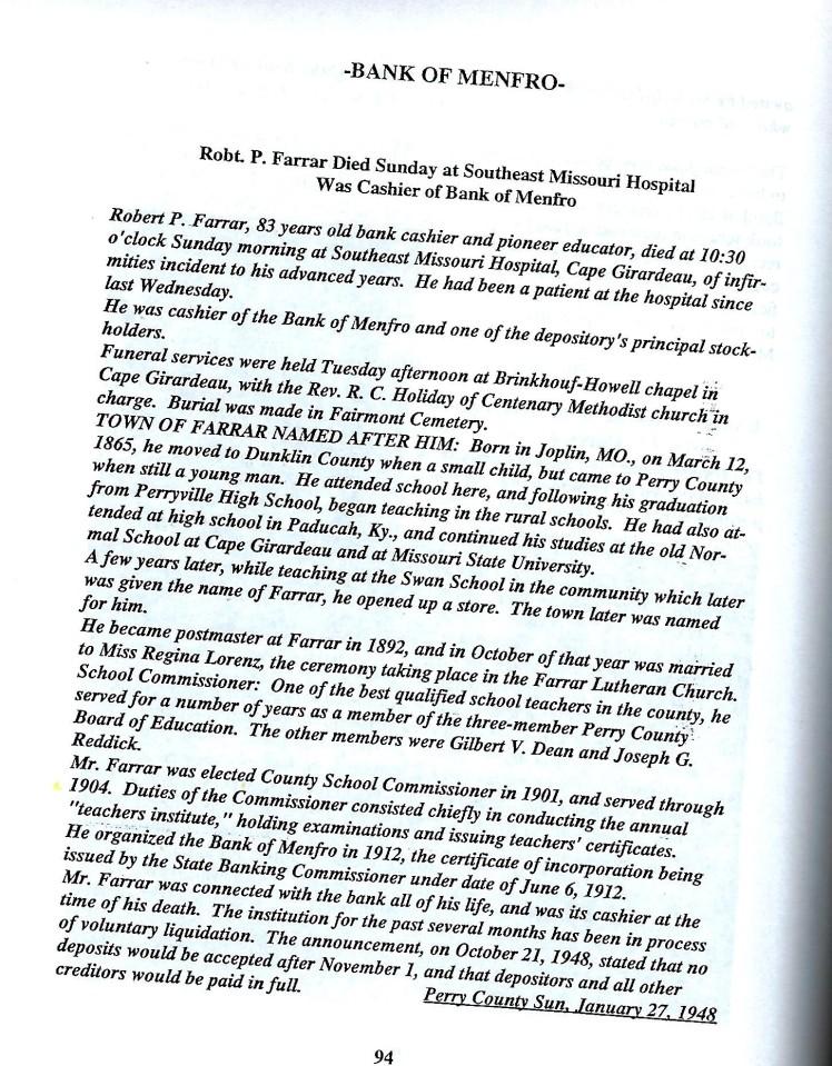 Robert Farrar obituary