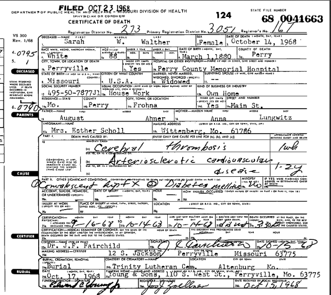 Sarah Walther death certificate