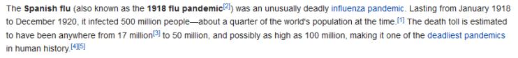 Spanish flu paragraph Wikipedia