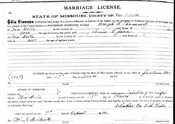 Thauwald Jahn marriage license